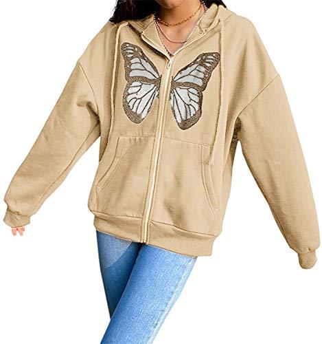 Sudadera con capucha para mujer, de manga larga, diseño de mariposas, Y2K, liso, cárdigan con capucha