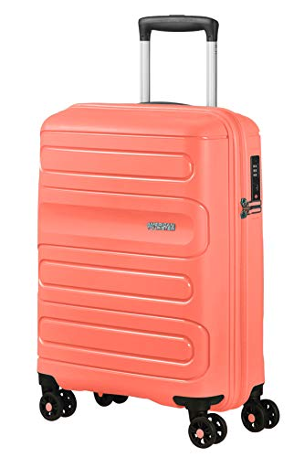 American Tourister Sunside - Spinner S Equipaje de Mano, 55 cm, 35 L, Naranja (Living Coral)
