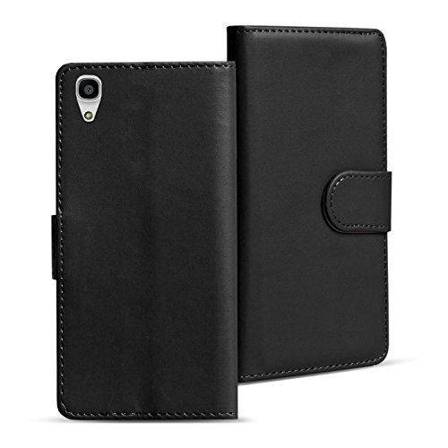 Y6 2 Hülle, Handyhülle für Huawei Y6 II Tasche PU Leder Flip Case Brieftasche - Schwarz