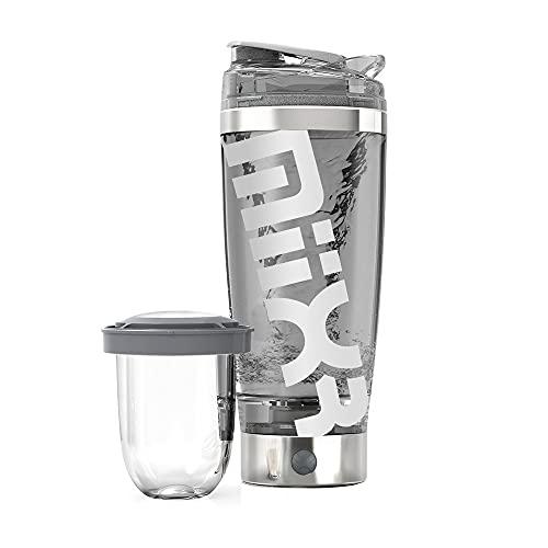 Promixx MiiXR PRO - Bottiglia Shaker per Proteine | Miscelatore a Vortice Ricaricabile | Include Un Contenitore Integrato con Tazza Facile da Pulire (600 ml | Acciaio Inox Argento-Bianco)