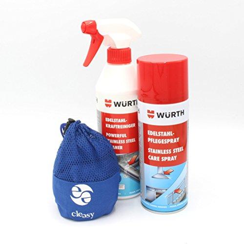 Reinigungs- und Pflegeset für Edelstahl Kraftreiniger, Pflegespray & cleasy® Mikrofasertuch