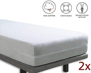 Tural – Funda de colchón elástica con cremallera. Rizo 100% Algodón. Pack de 2. Talla 90x190/200cm