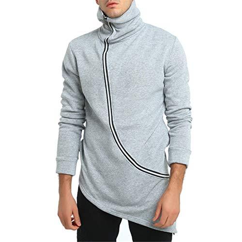 Chunmei Jacket Men Long Sleeve Top Solid Color Side Zipper Stand Collar Sweatshirt Cardigan Fashion Lightweight Breathable Hip Hop Cardigan Autumn Winter Sports Coat M