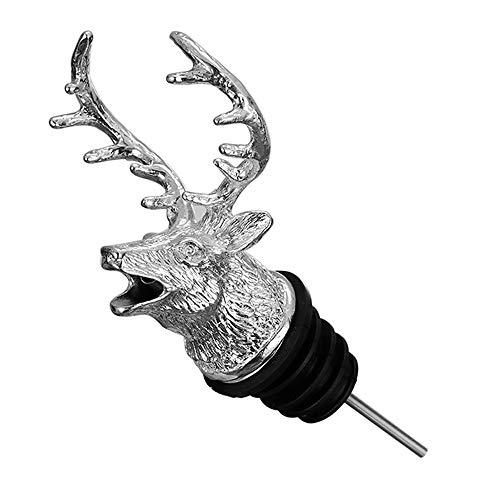 Deer Head-Wine Pourer Spout Deer Mouth Pourer Wine Bottle Stopper for bar and Home, Animal Wine Pourer (Sliver)