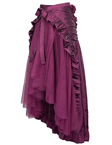 Zexxxy Steampunk Pirate Skirt Ladies Girls Middle Ages Vintage Skirt Irregular Steampunk Gothic Skirt Purple 2XL steampunk buy now online