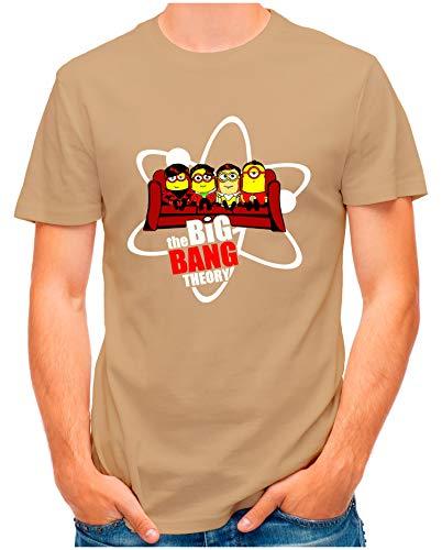 OM3® - Big-Bang-Minions-Sofa - T-Shirt | Herren | Banana TBBT Parody Printshirt | Khaki, M