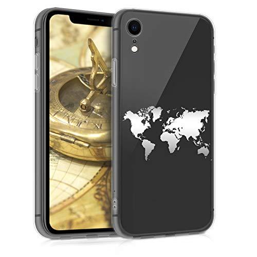 kwmobile Funda Compatible con Apple iPhone XR - Carcasa de TPU Mapa del Mundo en Plata/Transparente