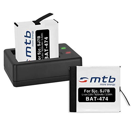 2 Baterías + Cargador Doble (USB) para cámara Deportiva SJCAM SJ7 Star 4K NATIV WiFi (Black/Silver/Rose Edition), SJ7000 Star Actioncam - Contiene Cable Micro USB