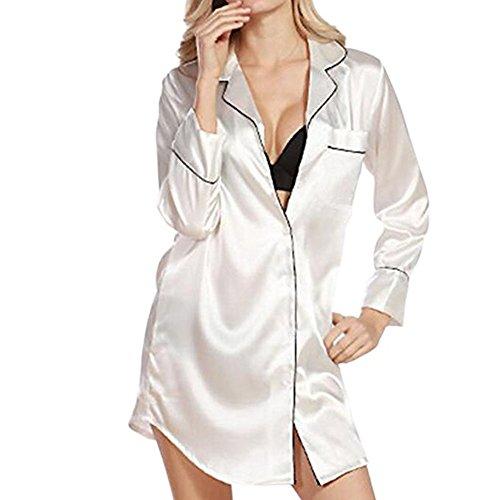 Morbuy Camisón para Mujer, Mujer Camisones Raso Camisa de Dormir Nightdress Elegante Manga Larga, Lujo y Buttoned Collar de la Camisa con el Bolsillo (M, Blanco)