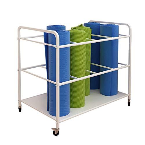 Estante almacenamiento yoga Carro Grande para Almacenamiento de Estantes para Esterillas de Yoga, Soporte para 12 Tapetes, Soporte de Metal Moderno para Tapete de Yoga con Ruedas, para Esterillas de P