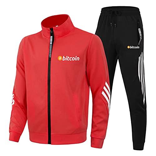 Cuello alto Tres Barras Ropa Deportiva Trajes Bitcoin para Hombre/Mujer Casual Chándal Zip Cardigan Chaquetas y Pantalones