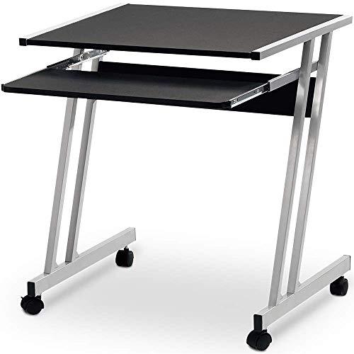 Deuba Schreibtisch Computertisch mit Rollen, 2 Bremsen Tastaturauszug platzsparend PC Laptop Tisch Computerwagen 62x48x73cm Schwarz