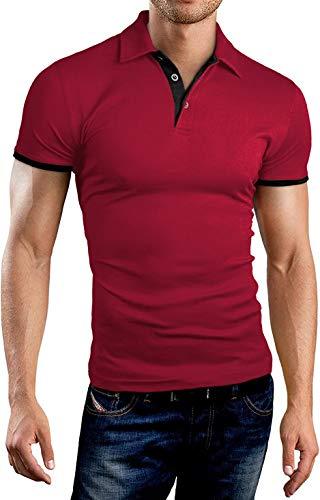 KUYIGO Mens Men's Perfect Slim Fit Short Sleeve Soft Fitted Polo Shirt Medium Red