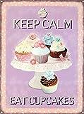 Keep Calm Eat Cupcakes Blechschilder, Metall Poster, Retro