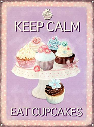 Keep Calm Eat Cupcakes Metall Blechschild Retro Metall gemalt Kunst Poster Dekoration Plaque Warnung Bar Cafe Garage Party Game Room Hauptdekoration