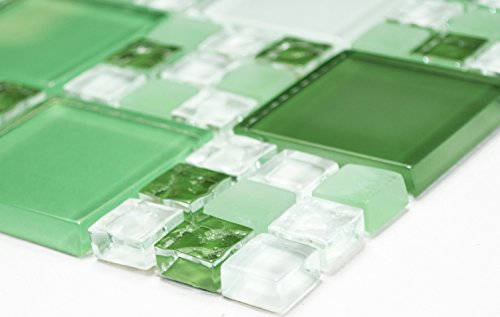 Mosaik-Netzwerk Mosaikfliese Kombination Crystal mix grün/grün matt Glasmosaik Transluzent Transparent 3D Fliesenspiegel, Mosaikstein Format: 15x15/48x48x8x8 mm, Bogengröße: 300x300 mm, 1 Bogen/Matte