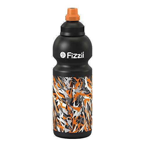Fizzii Kinder- und Freizeittrinkflasche 600 ml (auslaufsicher bei Kohlensäure, schadstofffrei, spülmaschinenfest, Motiv: Graffiti)