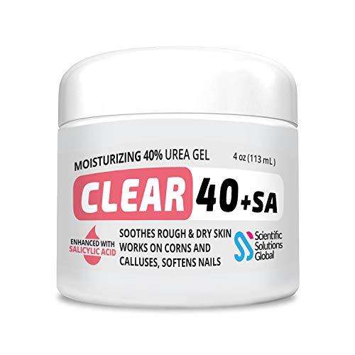 CLEAR 40 +SA, 40% Urea Gel + 2% Salicylic Acid, 4 oz w/Tea Tree & Coconut Oil, Aloe Vera, Callus & Corn Remover Softens Cracked Heels, Feet, Elbows, Hands, Nails, Superior hydration to Urea Creams