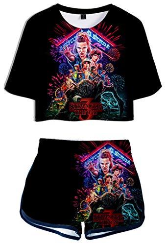 Silver Basic Ensemble de Sport Saison 3 Tops et Shorts Eté pour Femme et Fille T-Shirt avec 3D Impression XS,3664-3
