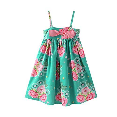Moneycom❤ Bebé de verano niña sin mangas vestido de impresión floral arco, vestido de falda de cumpleaños, tul chic ceremonia boda verde verde 18-24 Meses