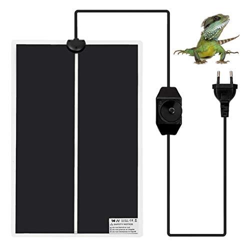 Fallcon Manta Termica Reptiles,Alfombrilla Calefactora para Terrario con Control de Temperatura Ajustable para Tortugas,Lagartos,Serpientes,Geckos(14W)