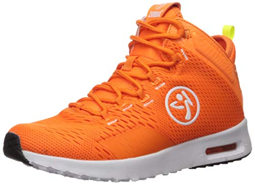 Zumba Air Classic High Top Shoes Dance Fitness Workout Sneakers for Women, Orange, 9.5