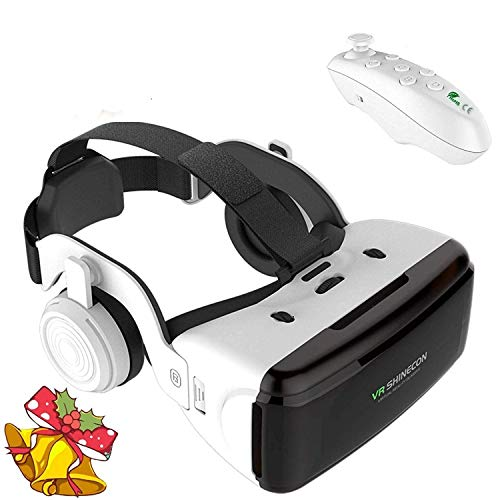 3D VR Goggle Virtual Reality Glass w/Headphone&Remote, 360° VR Viewer Set Fit for iPhone 11 Pro XS XR X 8 + Samsung Galaxy A10e S10 S9 S8+ LG BLU Android iOS Phone for 3D Movie Game, White VR Headset