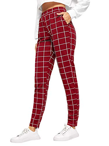 SweatyRocks Women s Casual High Waist Skinny Leggings Stretchy Work Pants Plaid Burgundy Medium