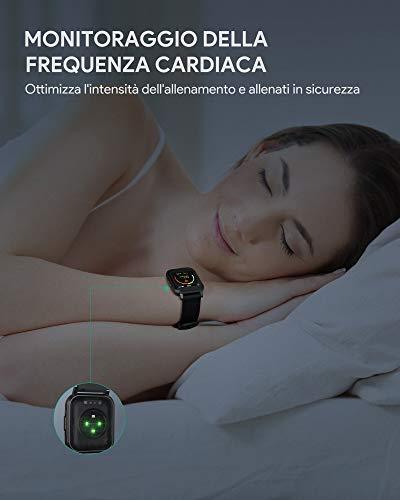 AUKEY Smartwatch, 1,4'' Full Touch 320p Schermo Orologio Fitness Activity Tracker, Impermeabil IP68, Cardiofrequenzimetro, Cronometro Contapassi, Notifiche Messaggi, Controllo della Musica