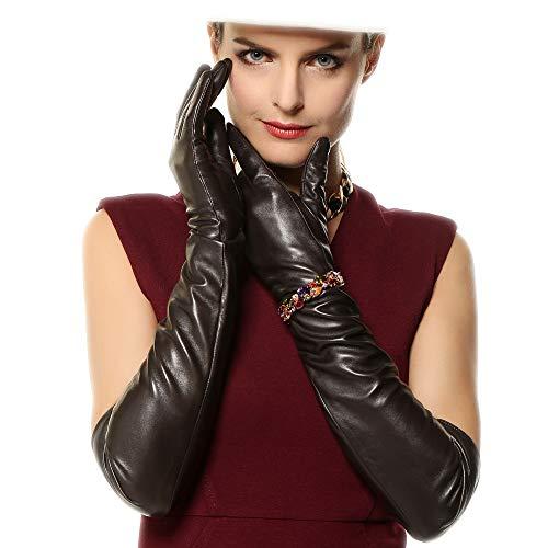 WARMEN Super Long 22' Women Genuine Soft Nappa Leather Opera Gloves (M, Black)