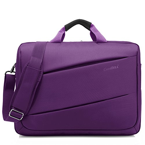 CoolBELL Shoulder Bag 17.3 Inch Laptop Bag Messenger Bag Briefcase Multi-Compartment Handbag for Dell Alienware/MacBook/HP/Lenovo/College/Women/Business (Purple)