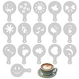 16 Piezas Plantilla de Cappuccino, Reutilizables Decoracion de Café Plantillas de Café de Plástico Latte Art Barista Plantilla de Decoración de Pasteles, para Decorar Cupcake Chocolate Caliente Café