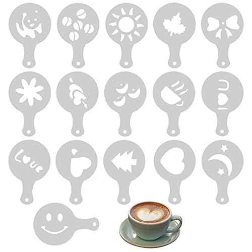16 Pezzi Caffè Che Decora Gli Stencil, Riutilizzabili Stampino di Caffè Cappuccino Stencil per Decorare Il caffè in Plastica, Stencil Barista Caffè per Decorare Cupcake Cappuccino Cioccolata