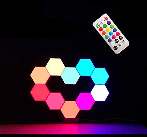 W.KING Splicing Quantum LED Lampe, Mit Fernbedienung Hexagonal Wandleuchte, RGB Panels Smart-Stimmungs-Beleuchtung Modular- Dekorative Honeycomb Lichter,10pcs