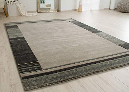 Steffensmeier Nepal Teppich Puri | Wolle (Schurwolle), Grau, Größe: 140x200 cm, Wollteppich für Wohnzimmer und Schlafzimmer