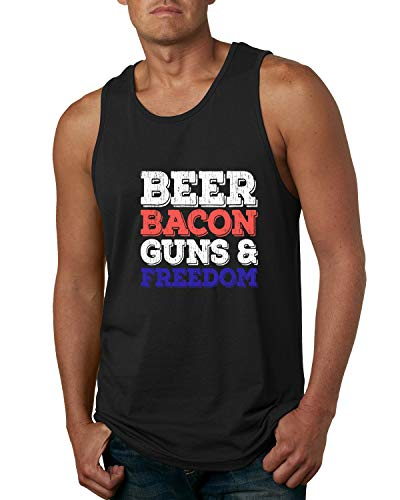 Wild Bobby Beer Bacon Guns Freedom Funny America USA Drinking | Mens American Pride Graphic Tank Top, Black, 3XL