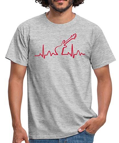 Lines of Heart Herz Puls Elektrokardiogramm Guitar Gitarre Männer T-Shirt, M, Grau meliert