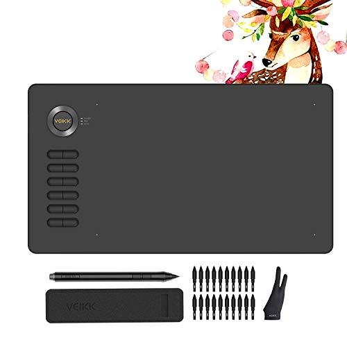 VEIKK A15 - Tablet grafico, 10 x 6 pollici, 12 tasti di corsa, con pennino Passivo 8192 livelli di sensibilità alla pressione e un guanto a due dita, semplice e confortevole, forte compatibilità