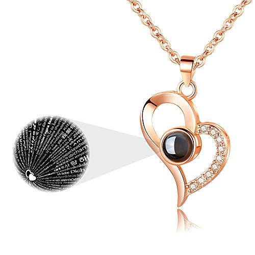 925 Sterling Silver I LOVE YOU Necklace 100 Languages Love Necklace Valentine's Day Anniversary Gifts for Wife Girlfriend Mom Women Romantic Gifts for Her (Rose Gold Plated)