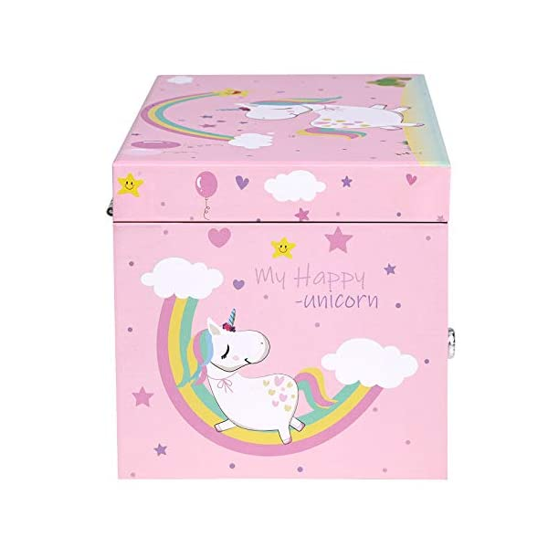 """SONGMICS Unicorn Ballerina Jewelry, Music Box with Pullout Drawer, Ring Slots and Divided Compartments, 7.5""""L x 4.3""""W x… 8"""