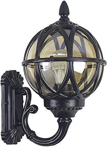 Lámpara de pared a prueba de polvo a prueba de agu Luz de pared al aire libre Pasada eléctrica E27 Montaje de pared Linterna de vidrio con cable Lámpara de jardín de aluminio fundido de aluminio fundi