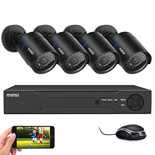 maisi 1080p CCTV Security Camera System, 4 Channel DVR Recorder with 4pcs...