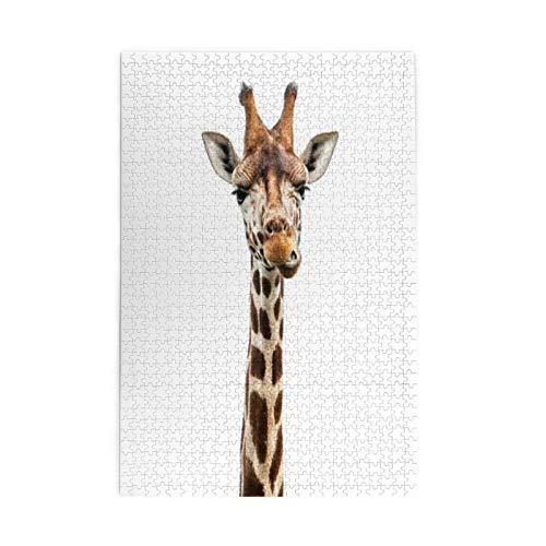 Divertida cara de jirafa educativa imagen rompecabezas juguetes educativos para adultos 1000 piezas rompecabezas de madera