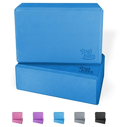 Yogibato Yogablock 2er Set – 2 Blöcke aus Eva Schaumstoff – Yoga Block Doppelpack – Yogaklotz stabil & rutschfest für Meditation Pilates Joga Fitness – Yogablöcke 2 Stück – Atlantikblau