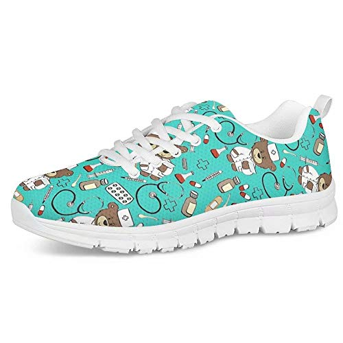 POLERO Zapatos Deportivos para Mujer, Zapatillas Planas con diseño de Osos, Zapatillas de Tenis con Cordones de Malla, Zapatos para Correr Ligeros y Casuales, EU 36,Azul Claro