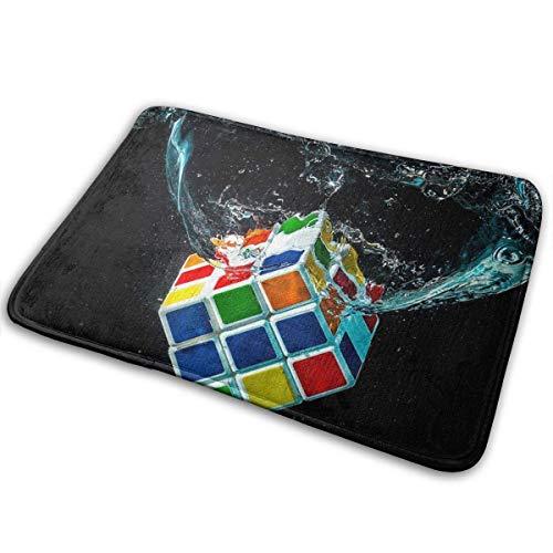 Agua Arte Digital Cubo de Rubik Negro Alfombra de baño Alfombrilla Antideslizante para Dormitorio, Exterior, Cocina, Entrada Interior 60x40 cm