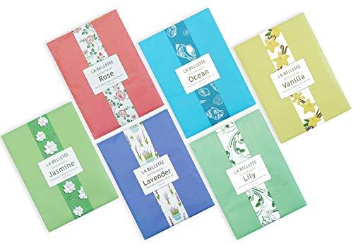 LA BELLEFÉE Duftsäckchen Set Duftsachet für Kleidung, Fragrant für Schubladen, Schränke, Büro und Toiletten, 30g X 6 Duft - Rose, Ozean, Vanille, Lavendel, Jasmin, Lilie