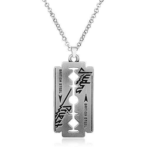 VFDGB Musikband Judas Priest Halskette Rasierklinge Anhänger Männer Kettenglied 24 Zoll Halsketten Freundschaftsschmuck