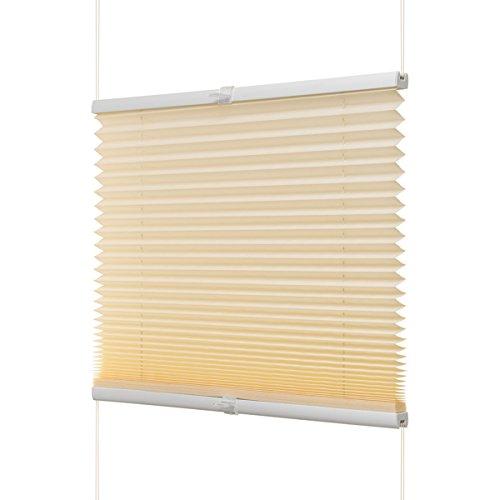 Ventanara Plissee ohne Bohren Beige Klemmfix Plisseerollo Faltrollo verspannt inklusive Premium Klemmträger 90 x 130 cm