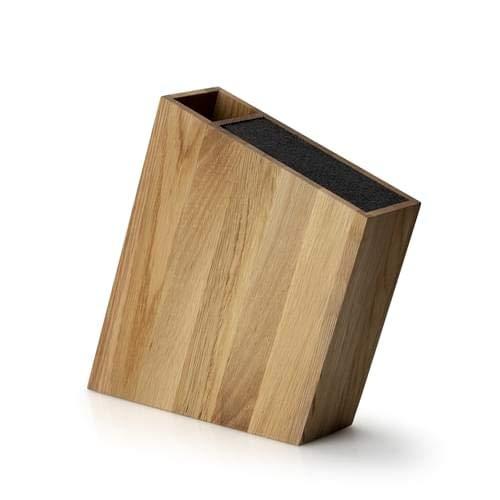 Continenta C4151 Messerblock mit Flexiblem Einsatz und Utensilienbehälter Schräg Eiche, Wood